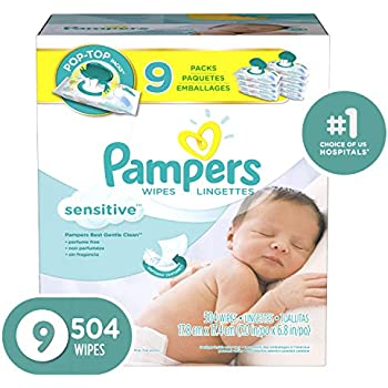 Pampers Sensitive Water-Based Baby Diaper Wipes, 9X Pop-Top - Hypoallergenic and Unscented - 504 Count