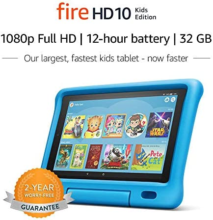 "Fire HD 10 Kids Edition Tablet – 10.1"" 1080p complete HD show, 32 GB, Blue Kid-Proof Case"