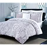 Nicole Miller Bedding 3 Piece Full / Queen Duvet Cover Set Floral Paisley Medallion Pattern in Shades of Gray and Silver on White