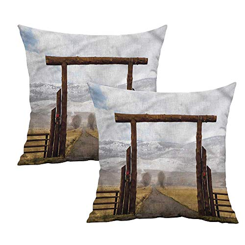 Khaki home Western Square Pillowcase Covers with Zipper Montana Cattle Ranch Winter Square Kids Pillowcase Cushion Cases Pillowcases for Sofa Bedroom Car W 18