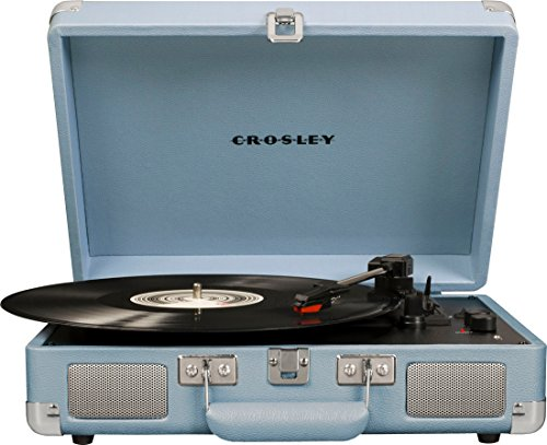 Crosley Cruiser Deluxe Vintage 3-Speed Bluetooth Suitcase Turntable, Tourmaline