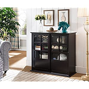 Kings Brand Furniture Holmes Espresso Wood Curio Cabinet with Glass Sliding Doors