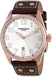 Torgoen Swiss Men's T28104 T28 3 Stainless Steel Watch with Leather Band
