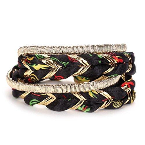 Set Weave Bracelet (GreatFun Fashion Women Multilayer Handmade Wristband Weave Rope Bracelet Bangle (F))