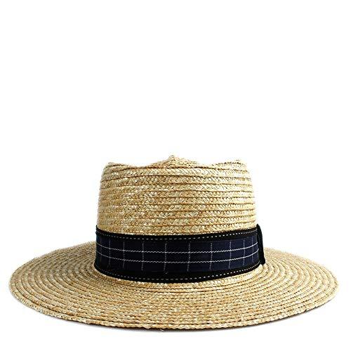- YUXUJ Plain Sun Hat Straw Fashion Women Hat Plaid Dome Hat Felt Pork Pie Hat Ladies Cap Black Cloth Strip (Color : 1, Size : 56-58CM)