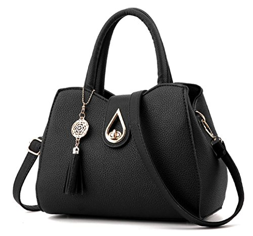 Ladies Black Satchel Purse - 4
