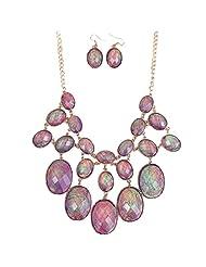 Qiyun Luxury Purple Shell Like Oval Bead Bib Bubble Statement Necklace Earrings Set Enveloppe Mauve Bulle Ovale Collier