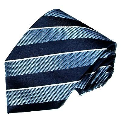 LORENZO CANA - Luxury Italian 100% Silk Tie Jacquard Woven Blue White - 84240