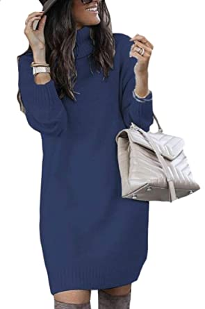 ainr Women s Turtleneck Knit Pullover Long Sleeve Solid Color Sweater Dress  Dark Blue XS 3b96482f0
