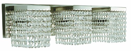 Framburg 1993 PS/C Gemini 3-Light Vanity Fixture with Clear Crystal Diffusers, 22