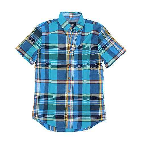American Eagle Men's Madras Short Sleeve Shirt 9215 (X-Small, Teal)