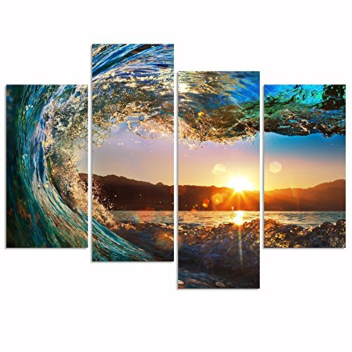 Theme Wall Prints Set (Pyradecor Gorgeous Waves 4 Piece Large Modern Stretched and Framed Artwork Contemporary Seascape Giclee Canvas Prints Ocean Sea Pictures Paintings on Canvas Wall Art for Home Decorations)