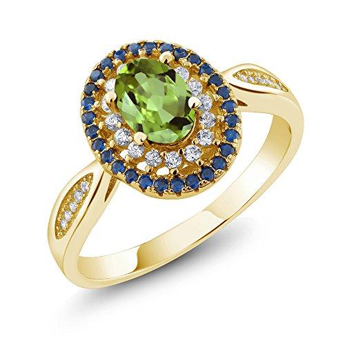 18k Peridot Ring (1.40 Ct Oval Green Peridot 18K Yellow Gold Plated Silver Ring)