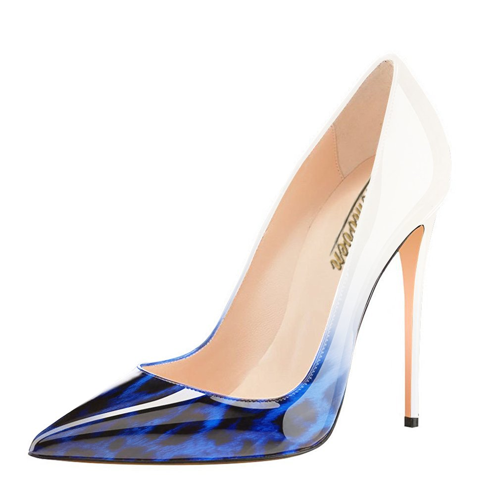 Modemoven Women's Pointy Toe High Heels Slip On Stilettos Large Pumps Size Wedding Party Evening Pumps Large Shoes B0725Q5V5R 9 B(M) US|Blue Leopard 7dec9d