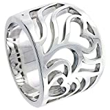 Sterling Silver Cascading Hearts Cigar Band Ring Flawless finish 5/8 inch wide, sizes 6 - 10