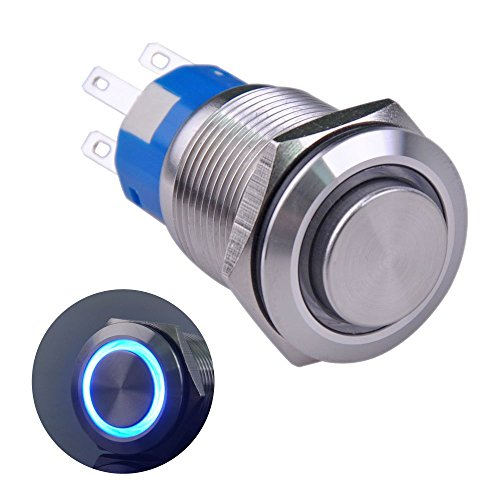 Ulincos Latching Push Button Switch U19C2 1NO1NC SPDT ON/OFF Silver Stainless Steel Shell with Blue LED Ring Suitable for 19mm 3/4 Mounting Hole (Blue)