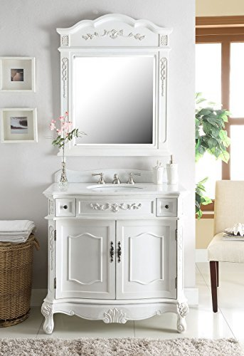 "36"" Traditional Antique White Fairmont Sink Vanity w/ Mirror BC-3905W-AW-36 - Ornate Bathroom Vanity"