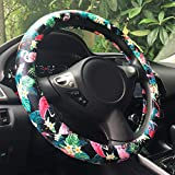"Rayauto Automotive Flamingo Pattern PU Leather Car Steering Wheel Cover Protector Grip 15"" (Flamingo) Fits Most of Cars"