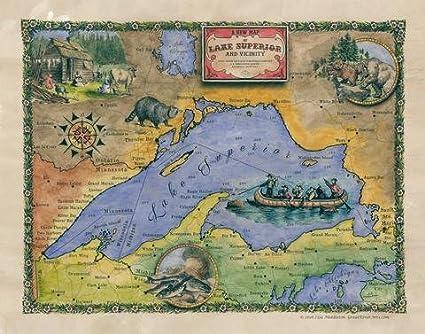Amazon 185 lake superior minnesota vintage historic antique 185 lake superior minnesota vintage historic antique map poster print gumiabroncs Choice Image