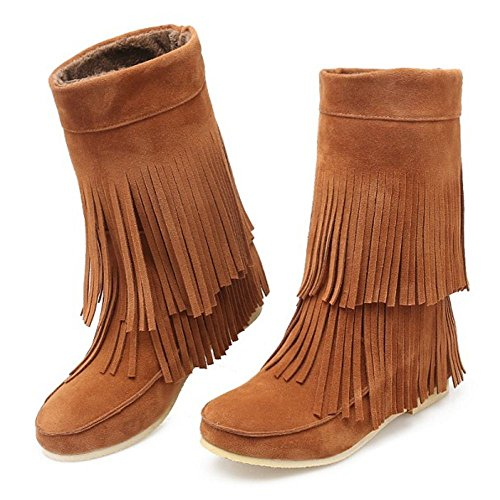 COOLCEPT Women Casual Pull On Tassel Boots Mid Calf Warm Lined Brown Qf6QjxO
