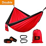 Camping Hammock, Double Parachute Nylon Hammocks, Lightweight Portable Backpacking Hammock with Heavy Duty Tree Straps and Carabiners for Indoor, Outdoor, Hiking, Travel, Backyard, Beach, by GOFORWILD Review
