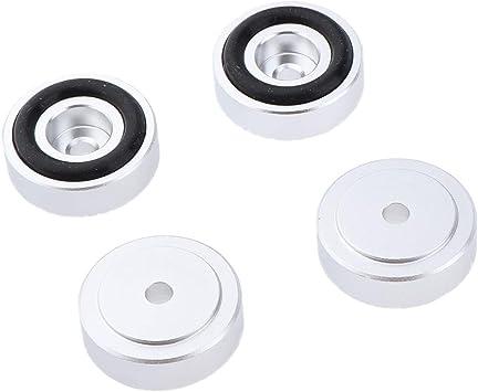 Baoblaze 4 Piezas Base de Aluminio Soporte del Cojín Pies del Aislamiento para Radio CD Placa Giratoria AMP, 50 x 15mm - Plata