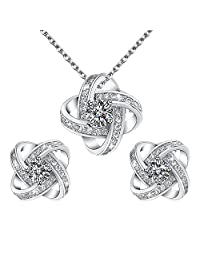 Yoursfs Bridesmaid Jewelry Sets Wedding CZ Pendant Necklace Earrings Set for Women Bridal