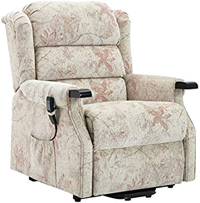 The Queensbury dual motor riser recliner rise and recline chair in bouquet beige fabric with USB charging port