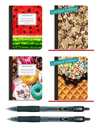 Book Sox Sweets Composition Books & Pilot Retractable G-2 Pens 6-Piece Bundle | 4 Wide Ruled Paper Notebooks + 2 Ink Roller Ball Writing Pens For School, College, Office by Book Sox + Pilot