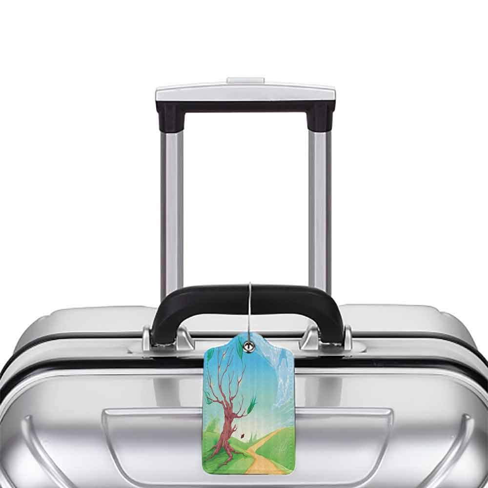 Waterproof luggage tag Apartment Decor Collection Romantic Landscape with Tree and a Swing by the Road Path in Wind Cartoon Print Soft to the touch Brown Blue Green W2.7 x L4.6