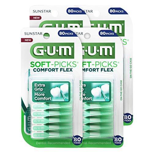 GUM Soft-Picks Comfort Flex Dental Picks (80 Picks, Pack of 4)