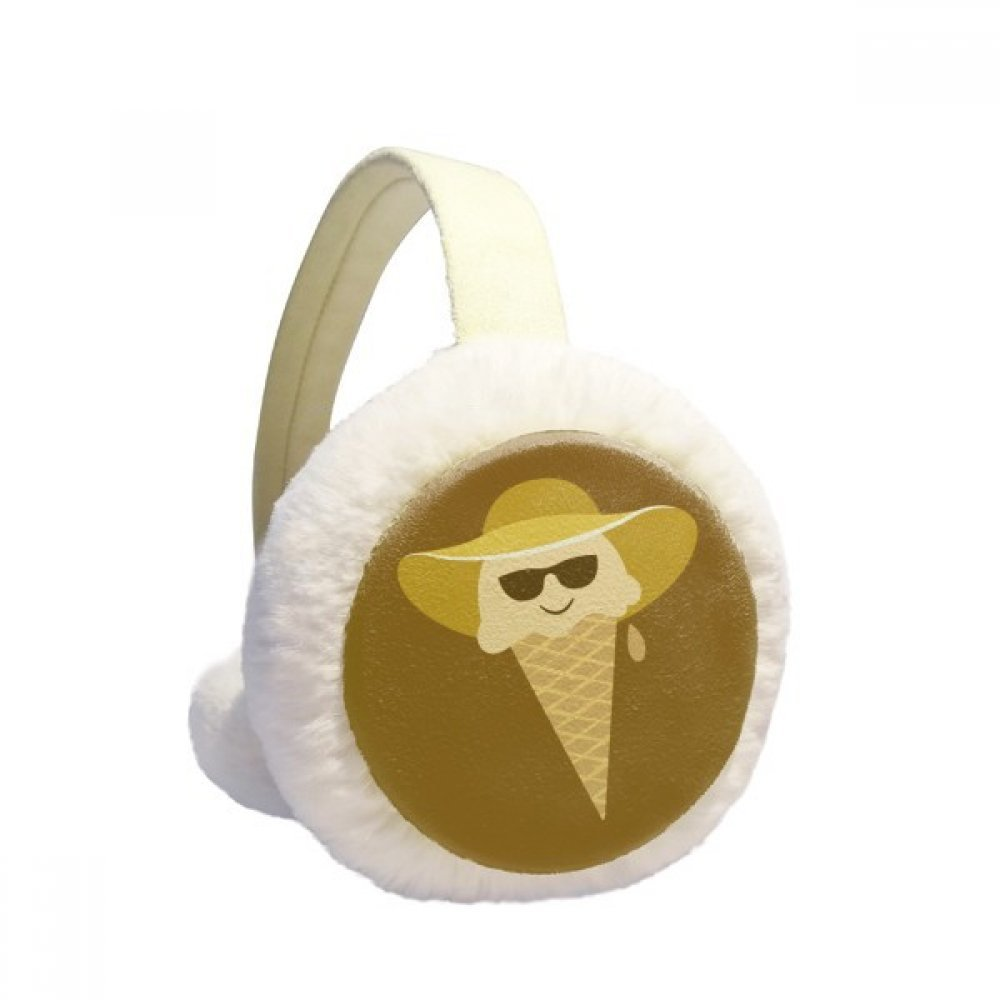 Hat Glasses Head Sweet Ice Cream Winter Earmuffs Ear Warmers Faux Fur Foldable Plush Outdoor Gift