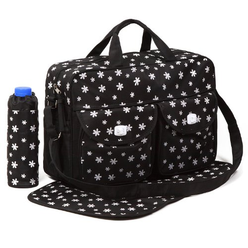 Black 3pcs Baby Diaper Nappy Changing Bag Set B:Daisy Design just4baby