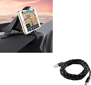 Non-Slip Dashboard Car Mount Clip Phone Holder w Braided 10ft Long Type-C Cable K2X Compatible with ZTE Grand X Max 2, ZMax Champ, Blade Z Max X2 Max X MAX, Imperial Max, Spark View, Duo LTE