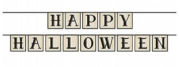 Girlande Happy Halloween vintage grau