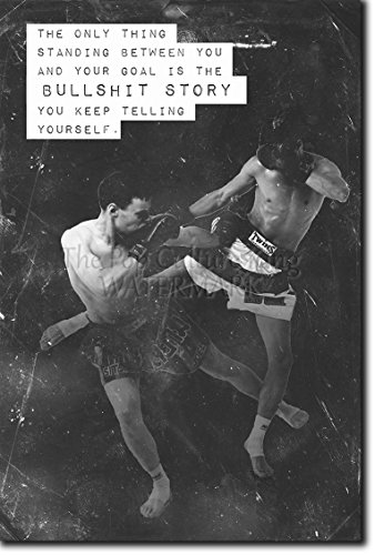 Muay Thai Motivational Poster 08 ''Bullshit story...'' Photo Print Art Motivation Quote Gift Thai Thailand - Size: 36 x 24 Inches (HUGE) - 91 x 60 cm by Introspective Chameleon