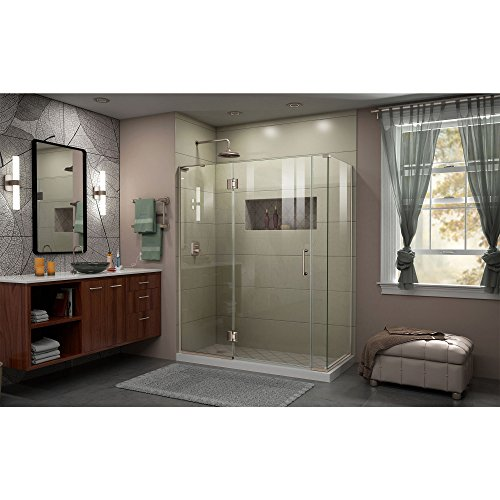 "best DreamLine Unidoor-X 30 3/8 in. D x 58 in. W, Frameless Hinged Shower Enclosure, 3/8"" Glass, Brushed Nickel Finish"