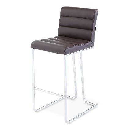 Strange Zuri Furniture Luna Counter Height Modern Bar Stool With Metal Base Brown Inzonedesignstudio Interior Chair Design Inzonedesignstudiocom
