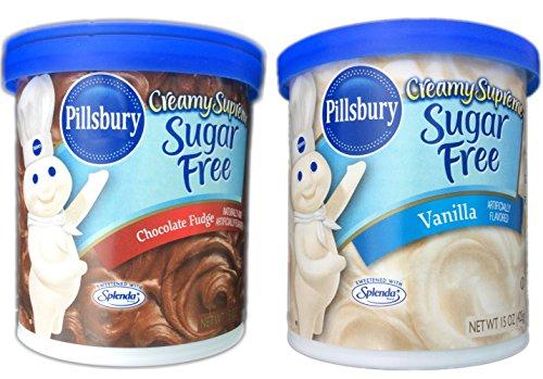 Pillsbury Creamy Supreme Sugar Free Chocolate Fudge and Vanilla Frosting Bundle (2 Items)