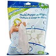 Multi-Purpose Wipes by Wysi Wipe, 100 Pack - Just Add Water!