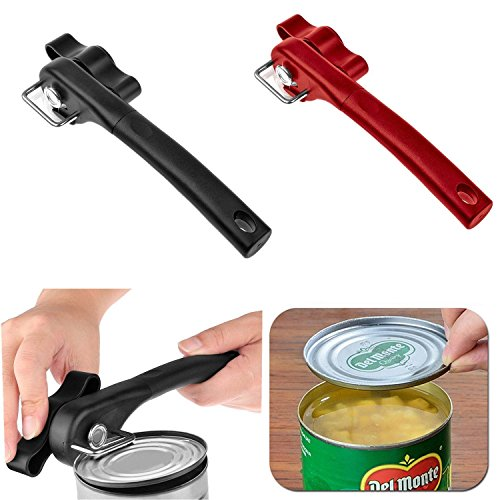Pro Smooth Edge Side Cut Manual Can Opener Cans Lid Lifter Home Kitchen Tool Kit (red)