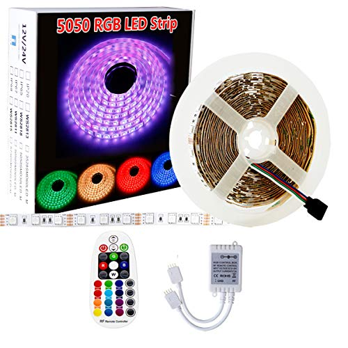 SPARKE LED Strip Lights Non-Waterproof 32.8feet (10meter) 600leds Flexible Color Changing RGB 24V SMD5050 LED Tape Lighting with RF Remote Controller ( No Power Adapter)