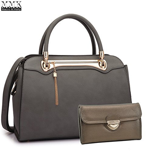 MMK Collection Medium Size Women Light Color New Popular Roomy Gold Plated Hinge Decorated Satchel(7380) Top Handle Handbag with Shoulder Strap (MA-XL-08-6802-DG) by Marco M. Kelly