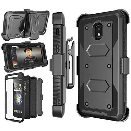 Njjex Case Compatible with Samsung Galaxy J7 Refine/J7 2018/J7 Star/J7 V 2nd/J7 Aura/J7 Top/J7 Crown/J7 Eon/J7 Aero, [Nbeck] Built-in Screen Protector Swivel Holster Belt Clip Kickstand Cover - Black