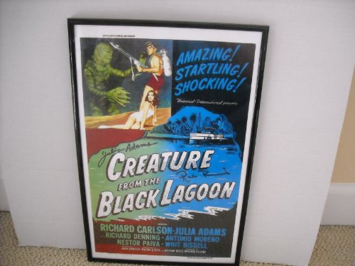 creature-from-the-black-lagoon-ricou-browning-and-julia-adams-signed-autographed-framed-11x17-poster