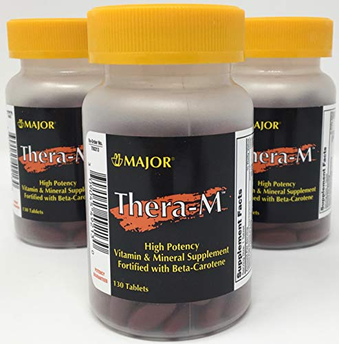 Thera-M High Potency Vitamin & Mineral Supplement Fortified with Beta-Carotene (3-Pack - 3 Bottles of 130 Tablets - Total of 390 Tablets - 1 Year Supply) Compare to Theragran®-M Advanced
