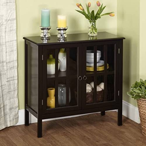 Cumberland Double Glass Door Cabinet (Black). By Simple Living