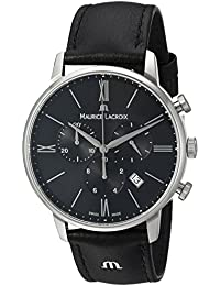 Men's 'Eliros' Quartz Stainless Steel and Leather Casual Watch, Color:Black (Model: EL1098-SS001-310-1)