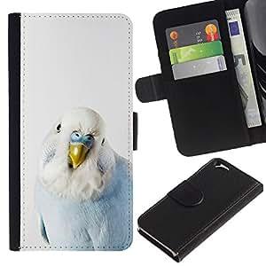 Apple (4.7 inches!!!) iPhone 6 Modelo colorido cuero carpeta tirón caso cubierta piel Holster Funda protección - Parrot Baby Blue White Bird Tropical
