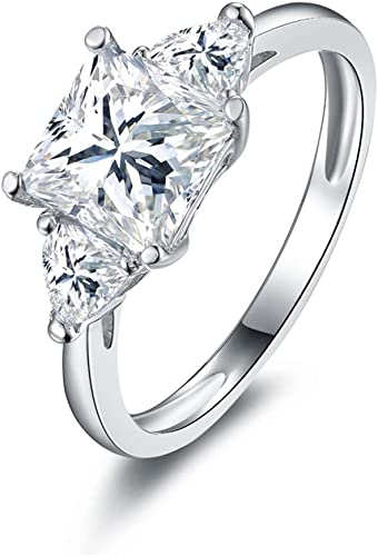 DYUNQ Round Cut 1ct CZ Engagement Rings for Women Cubic Zirconia Wedding Band in Sterling Silver